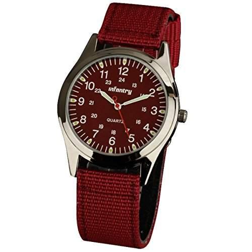 INFANTRY Herren-Armbanduhr Herren Uhr Nylon UhrArmband 20mm Quarzuhr Armee Militaer Armbanduhr