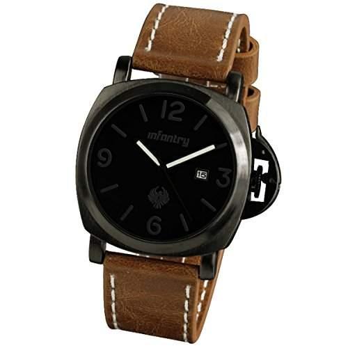 INFANTRY Herren-Armbanduhr-Uhr-Herrenuhr Leder Schwarz Quarzuhr Braun Datumsanzeige Analog Quarz