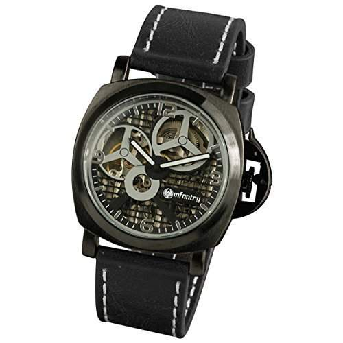 NEU INFANTRY Leder Herrenuhr Mechanisch Uhr schwarz Manuel Handaufzug Halbautomatik