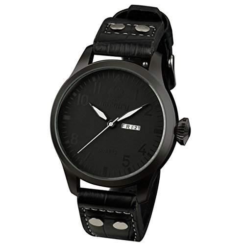 INFANTRY Herrenuhr-Herren Armbanduhr Uhr Tag und Datumsanzeiger Schwarz Armee Watch Leder NEU XXL #IN-035-ALLB-L