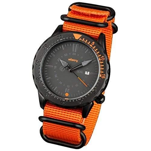 INFANTRY Schwarz Herren-Armbanduhr Orange Nylon Uhrband Edelstahl Uhr Sportlich Outdoor Analog Zeiger