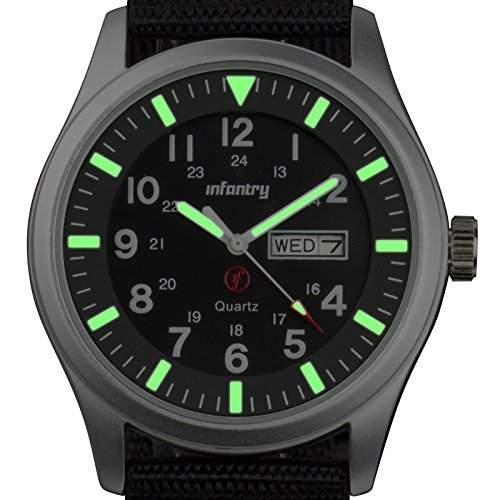 INFANTRY Herren Quarz Armband Uhr Datum Tag 24 Stunden Fluoreszenz Sport Schwarz Nylon Uhrenband