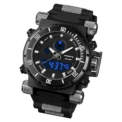 INFANTRY Herren-Armbanduhr schwarz Herren Uhr Herrenuhr Quarzuhr Digital Quarz Stoppuhr Sportuhr Hinterlicht