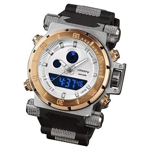 INFANTRY Herren-Armbanduhr Herrenuhr Uhr Herren Golden Quarzuhr Digitaluhr Stoppuhr Fliegeruhren