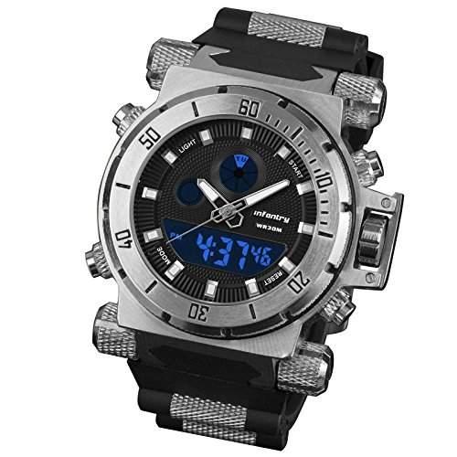 INFANTRY Uhren Herren Armbanduhr Quarzuhr Digital Chronograph Stoppuhr Alarm Stark Edelstahluhr XL Maenner Sportuhr