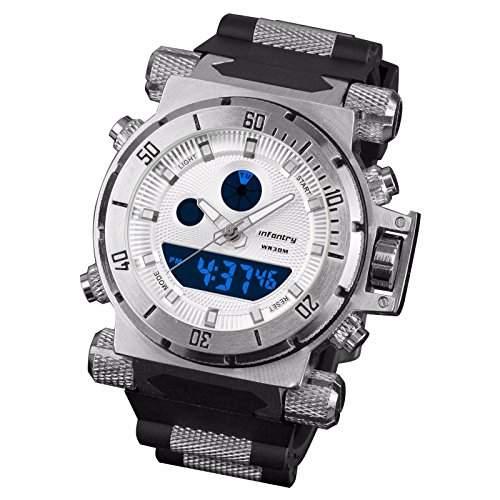 INFNATRY Herren-Armbanduhr Glanz Edelstahl Herrenuhr Quarz-Digitaluhr Grosse Fliegeruhr MIT Alarm Sportuhr