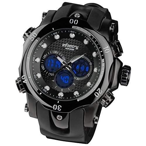 INFANTRY-Herren-Uhr-Herrenuhr Datum Tag Stoppuhr Armbanduhr Licht Alarm Quarzuhr Damenuhr schwarz Silikon
