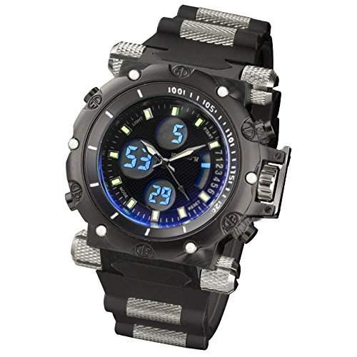 INFNATRY Herren-Armbanduhr XXL Herrenuhr Digital-Quarz Sportuhr Edelstahl Matte Schwarz Stark Silikon Armband
