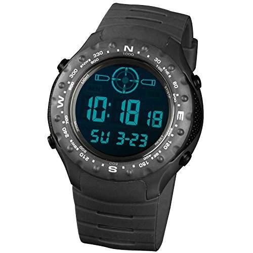 INFNATRY Herren-Armbanduhr Digital Uhr Schwarz Edelstahl Uhr Herren Kratzfest LCD Zifferblatt