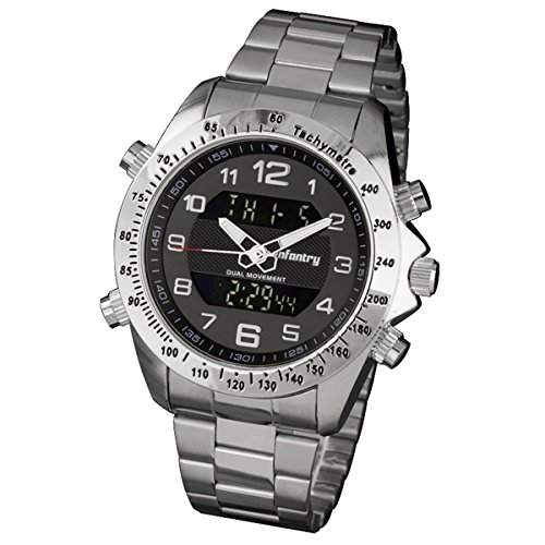 INFNATRY Herren-Armbanduhr Edelstahl Herrenuhr Digital Chronograph XL Uhren Herren