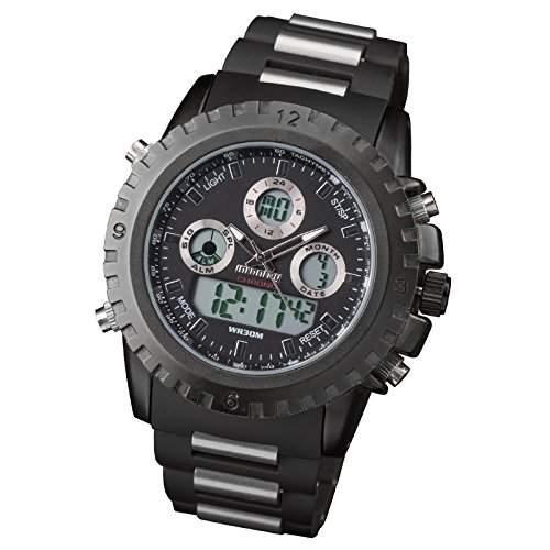 IFANTRY Herren-Armbanduhr digitaluhren herren Quarz Dual Edelstal Uhr Fliegeruhr Chronograph Stoppuhr Datum Tag