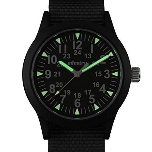 INFANTRY Schwarz Herrenuhr Quarz Herren-Armbanduhr Analoguhr Militaer Uhr G10 Nylon Uhrband