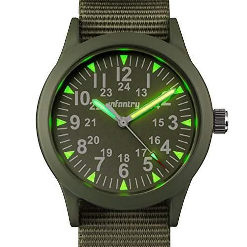 INFANTRY Gruen Herrenuhr Analog Quarz Uhr Armbanduhr Sportuhr Armee Militaer Style ##IN-083-G-N