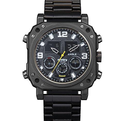 INFANTRY Herren Analog Datum Alarm Beleuchtung Outdoor Schwarz Edelstahl Armband