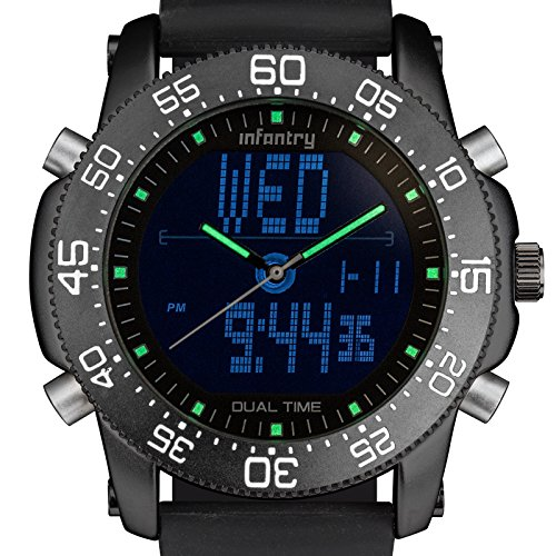 INFANTRY Herren Analog Dual Uhr Chronograph Stoppuhr Alarm Stoppuhr Outdoor Datum Schwarz Gummi Armband
