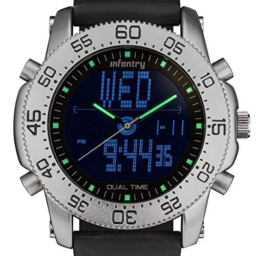 INFANTRY Herren Analog LCD Digitaluhr Quarz Datum Alarm Stoppuhr Outdoor Nachtsicht Gummi Armband