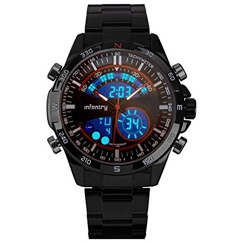 INFANTRY Herren Analog Datum Alarm Stoppuhr Outdoor Uhren Fliegeruhren Sportuhr Marine Rot Edelstahl Armband