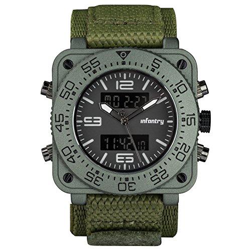 INFANTRY Herren Analog Alarm Stoppuhr Outdoor Edelstahl Uhren Sport Gruen Nylon Armband