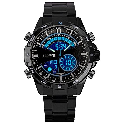 INFANTRY Herren Analog Stoppuhr Alarm Stoppuhr Outdoor Datum Tag Alarm Stoppuhr Marine Blau Edelstahl Armband