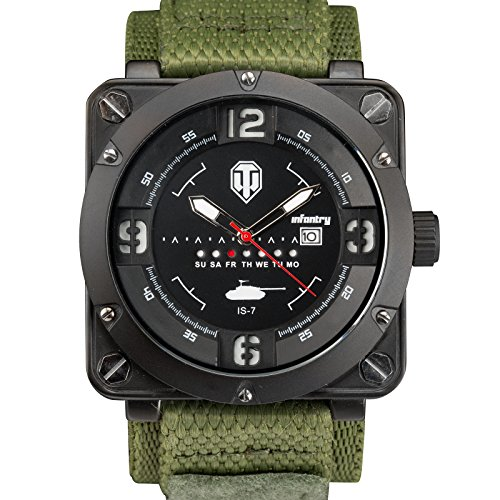 INFANTRY Herren Analoges Quarzwerk Armbanduhr Datum Day Nylon Armband World of Tanks