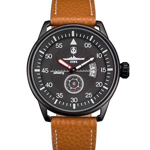 INFANTRY Herren Analoges Quarzwerk Armbanduhr Datum Sport Braun Leder Band World of Tanks