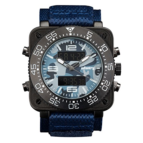 INFANTRY Herren Analogue Digital Armbanduhr Camo Datum Stoppuhr Blau Nylon Band