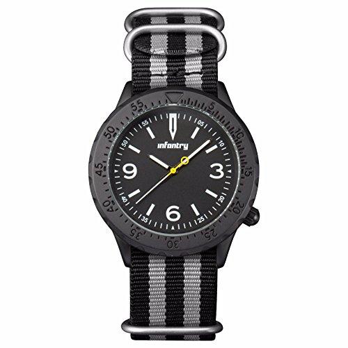 INFANTRY Analog Quarz Uhr Edelstahl G10 Nylon Band Schwarz Army Uhren
