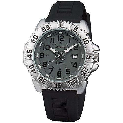 INFANTRY Quarz Uhren Herren Analog Edelstahl Uhr Silber 24MM Rubber Armband MIT Datum