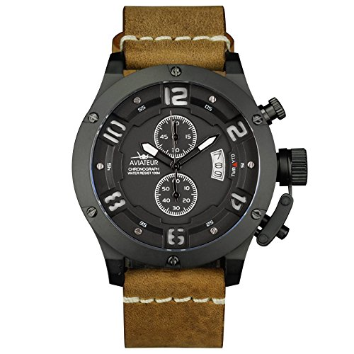INFANTRY Herren Analoges Quarzwerk Armbanduhr Fly back Chronog raph Braun Echtleder Strap Wasserdicht