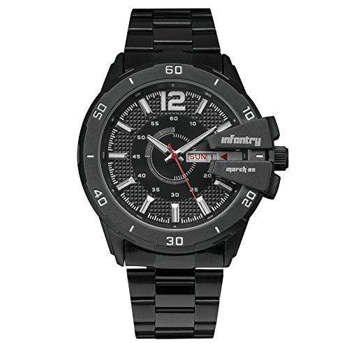 INFANTRY Herren Analoges Quarzwerk Armbanduhr Datum Day Leuchtende Schwarz Edelstahl Armband