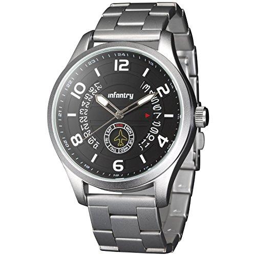 INFANTRY Herren Analoges Quarzwerk Armbanduhr Datum Day Outdoor Leuchtende Flieger Siber Edelstahl Armband