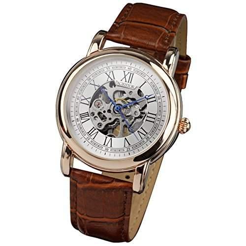 PACIFISTOR Herren-Armbanduhr Herrenuhr Vintage Leder Band Handaufzug Skelettuhren Halb Automatisch Uhren Business