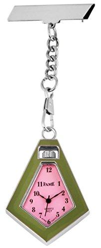 Fame Analog Taschenuhr mit Quarzwerk 100425500398 Silberfarbiges Gehaeuse im Masse 34 x 44mm x 7mm mit Ziffernblattfarbe Rosa und Mineralglas