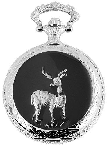 Fame Analog Taschenuhr mit Metall Kette Reh Hirsch 480822000079 Silberfarbiges Gehaeuse im Masse 48mm x 14mm mit Ziffernblattfarbe Weiss und Mineralglas