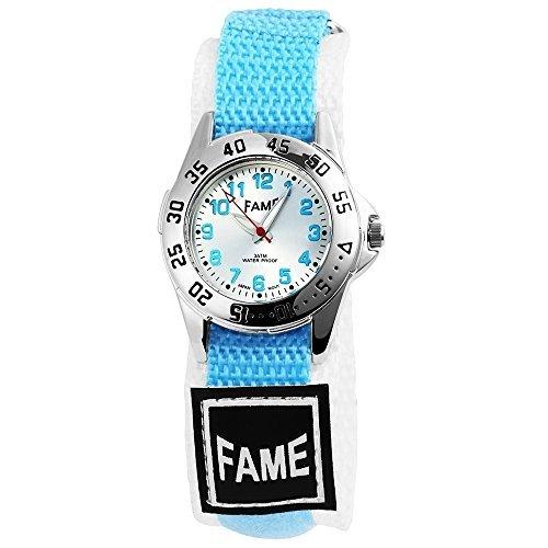Fame Damen Markenuhr mit Textilband in Weiss Hell Blau