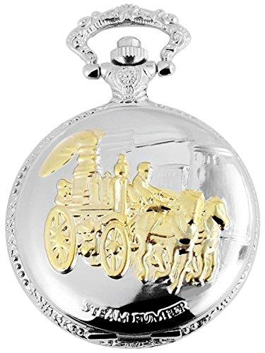 Fame Analog Taschenuhr mit Metall Kette und Hakenverschluss Kutsche Gespann 480812000074 Silberfarbiges Gehaeuse im Masse 46mm x 15mm mit Ziffernblattfarbe Weiss und Mineralglas