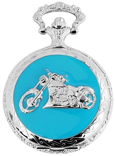 Fame Analog Taschenuhr mit Metall Kette und Hakenverschluss Motorrad 480822000026 Silberfarbiges Gehaeuse im Masse 47mm x 16mm mit Ziffernblattfarbe Weiss und Mineralglas