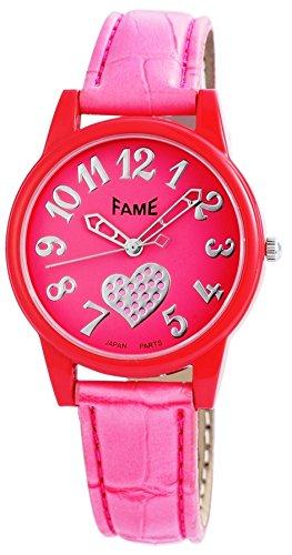 Fame modische Love Armbanduhr Herz in Farbe Pink