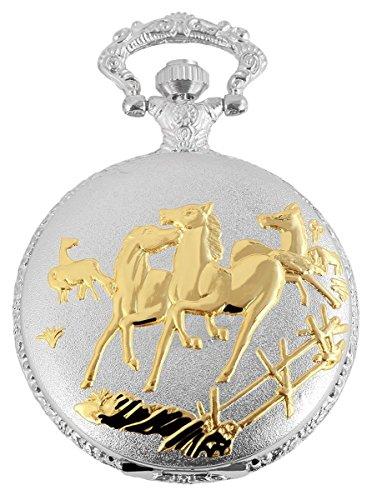 Fame Analog Taschenuhr mit Metall Kette Pferde 480812000032 Bicolor Gehaeuse im Masse 46mm x 14mm mit Ziffernblattfarbe Weiss und Mineralglas