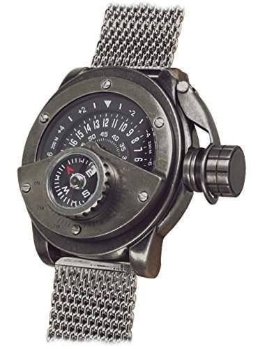 Retrowerk 24-h Scheiben Uhr mit Kompass - Milanaiseband R004-MIL