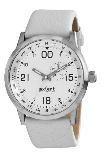 Axcent of Scandinavia IX55713 161 M10 Armbanduhr Quarz Analog Weisses Ziffernblatt Armband Leder Weiss