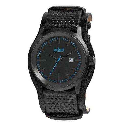 Axcent of Scandinavia IX45711 337 Lifetime Armbanduhr Quarz Analog Zifferblatt schwarz Armband Leder schwarz