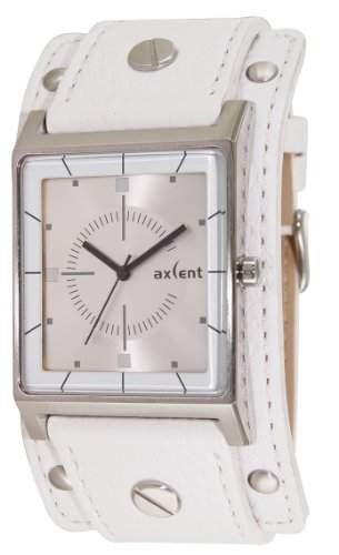 Axcent of Scandinavia-IX38001-661-Expander-Armbanduhr-Quarz Analog-Zifferblatt Silber-Armband Leder Weiss