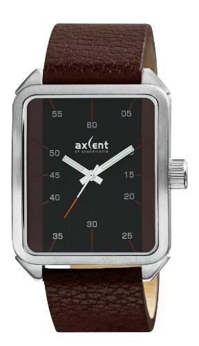 Axcent of Scandinavia-IX42711-736-Graphic-Armbanduhr-Quarz Analog-Zifferblatt schwarz Armband Leder braun