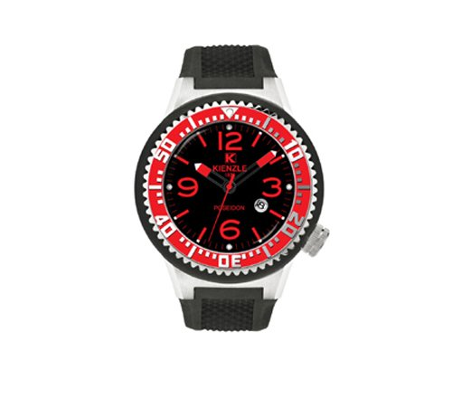 Waooh Uhr Kienzle 720 3048 Schwarz Silikon armband Schwarz zifferblatt Schwarz silver case Rot silver luenett
