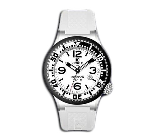 Waooh Women Watch Kienzle 720 3069 Weiss Silikon armband Weiss zifferblatt Schwarz silver case Silver Schwarz luenett