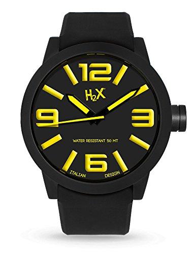 H2 X sn395uny Herrenuhr Quarz mit Silikon Armband Schwarz
