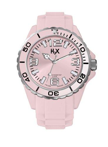 H2 x sp382dp1 Damen Armbanduhr Quarz Analog Armband Silikon Rosa