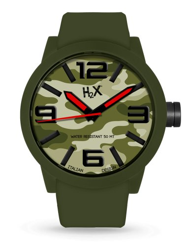 H2 x sv395uca Armbanduhr Quarz Analog Armband Silikon Schwarz