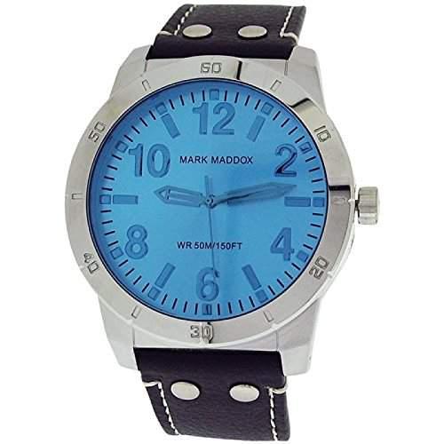 Mark Maddox analoge Herrenuhr blaues Zifferbl schwarzes PU Band HC3007-35